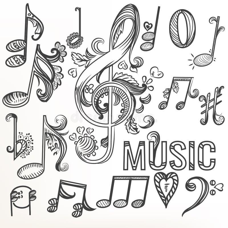 Clave de sol determinada del garabato incompleto y otros símbolos de música ilustración del vector