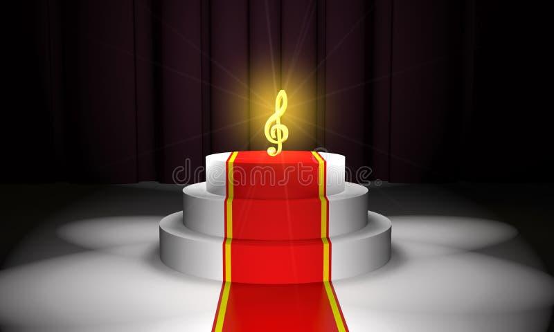 Clave de sol dourada no pódio com um tapete vermelho 3d ilustração stock