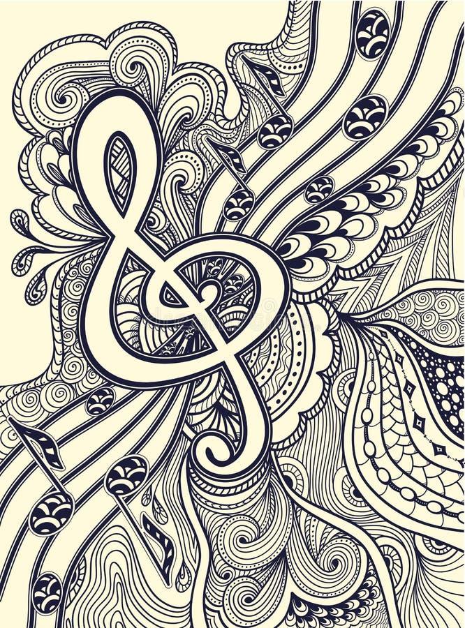 A clave de sol nota a estância musical com preto do ornamento do Zen-emaranhado no branco ilustração royalty free