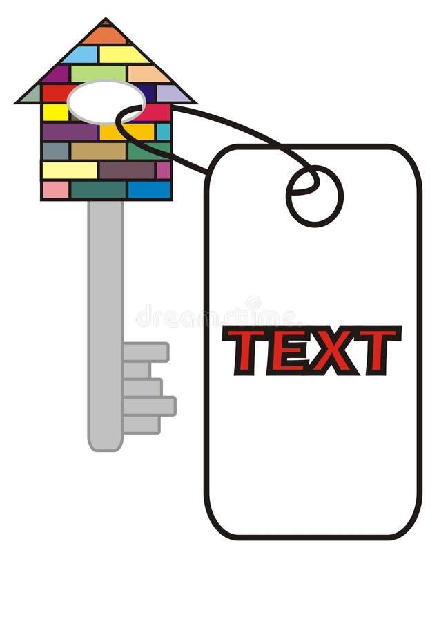 Clave del formato de la casa con una escritura de la etiqueta imagen de archivo libre de regalías