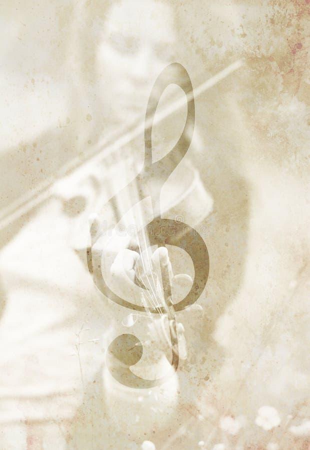 Clave do violinista e do violino Conceito da música Estrutura velha ilustração royalty free