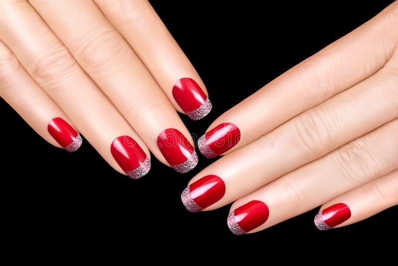 Clave el arte Esmalte de uñas de lujo Etiquetas engomadas del clavo imagen de archivo