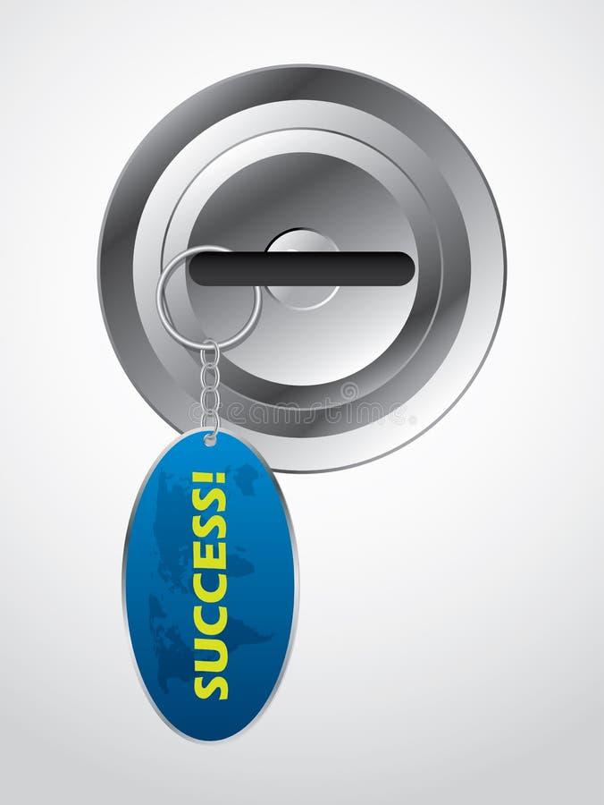 Clave en bloqueo con el keyholder del éxito ilustración del vector