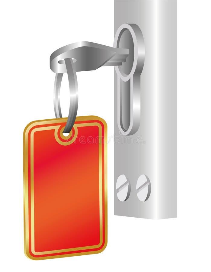 Clave en el reloj de la puerta con una escritura de la etiqueta stock de ilustración