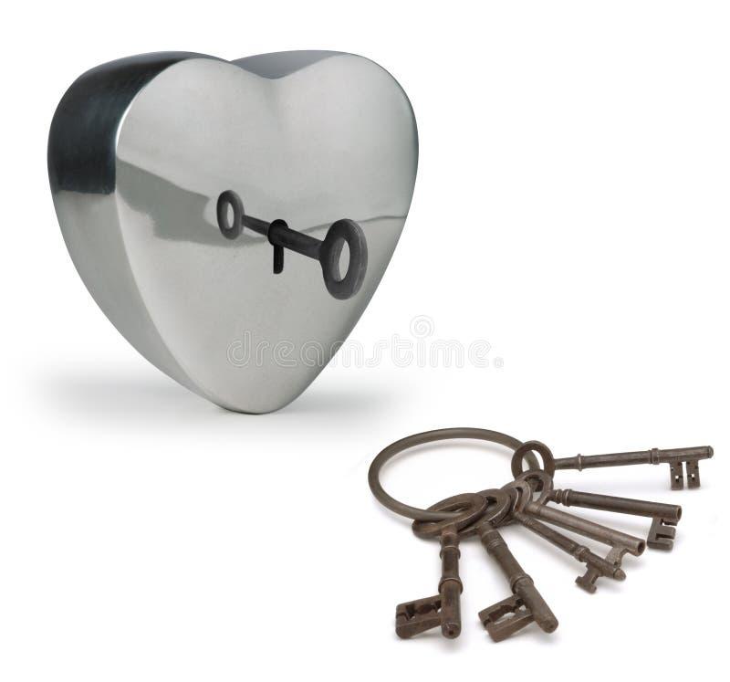 Claves al corazón fotos de archivo