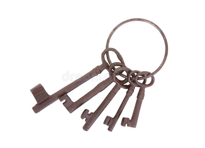 Claves antiguos en un anillo foto de archivo