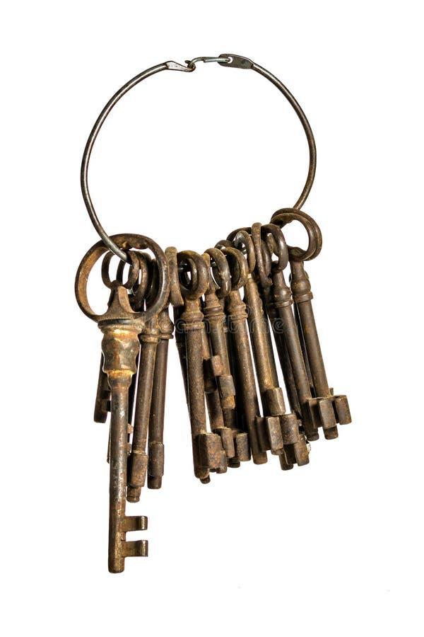 Claves antiguos en un anillo foto de archivo libre de regalías