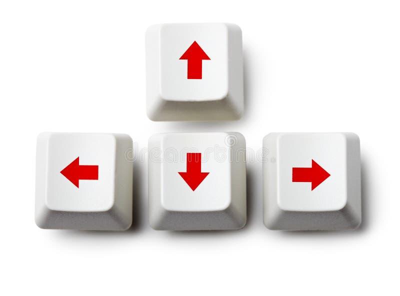 Claves de flecha del cursor en blanco fotografía de archivo libre de regalías