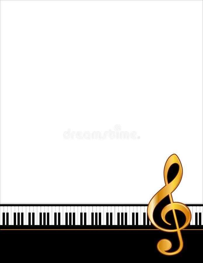 Claves del piano, Clef del oro, jpg+eps ilustración del vector