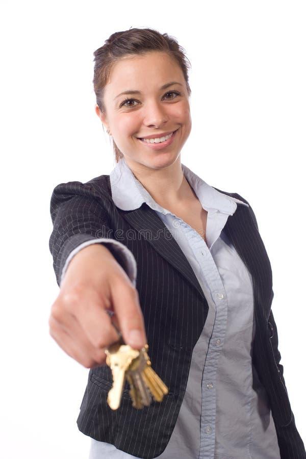 Claves femeninos del agente inmobiliario fotografía de archivo