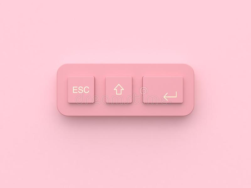clavier abstrait minimal de bouton d'équipement de technologie de rose du rendu 3d illustration libre de droits