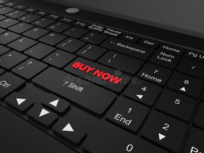 Clavier avec d'achat un concept de bouton maintenant image stock