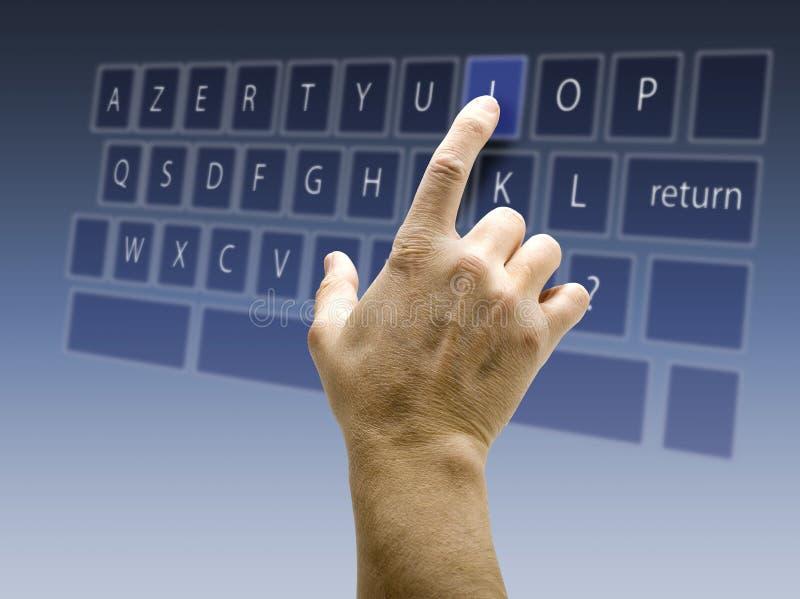 Clavier AZERTY de surface adjacente d'écran tactile photo stock