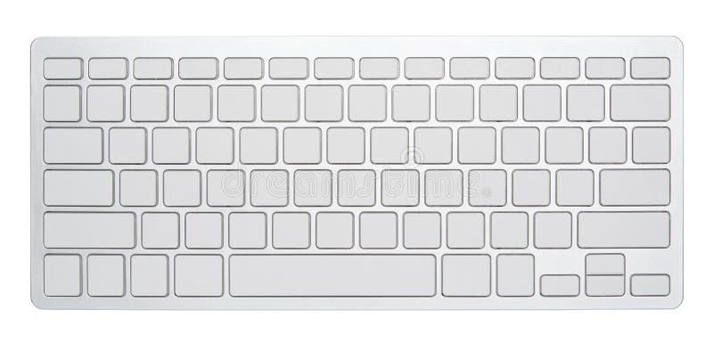 Clavier d'ordinateur argenté vide, avec des 78 clés vides pour votre idée, d'isolement sur le fond blanc photos stock