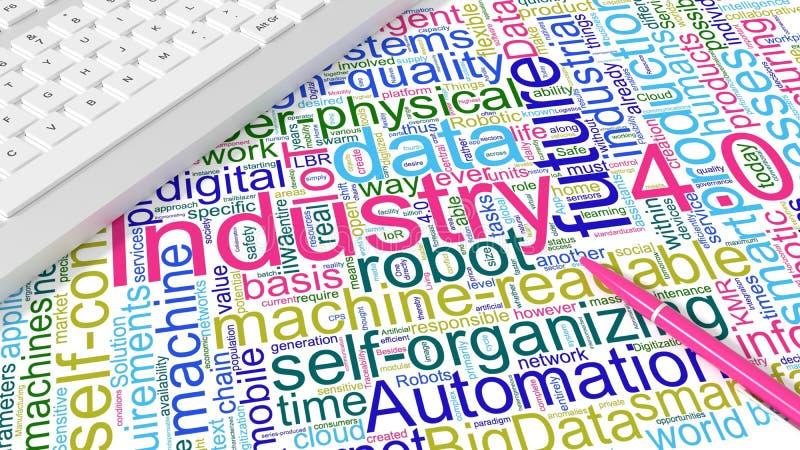 Clavier d'ordinateur avec le wordcloud de mots-clés de l'industrie 4 illustration libre de droits