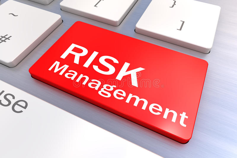 Clavier d'ordinateur avec un concept de bouton de gestion des risques illustration libre de droits
