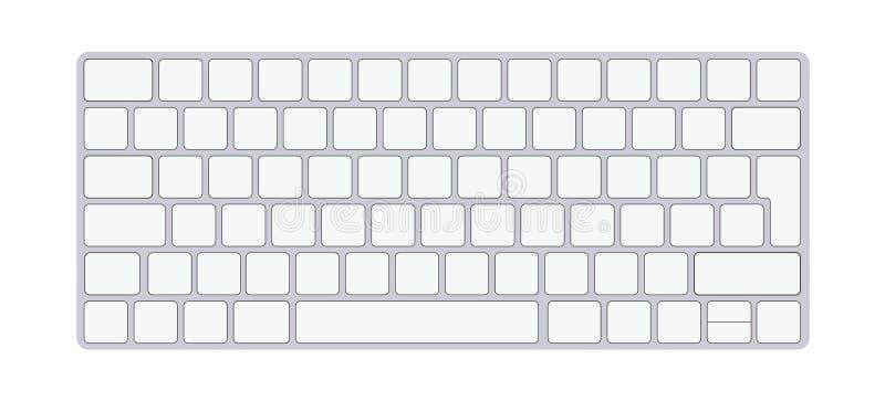 Clavier d'ordinateur en aluminium moderne d'isolement sur le fond blanc Illustration de vecteur illustration libre de droits