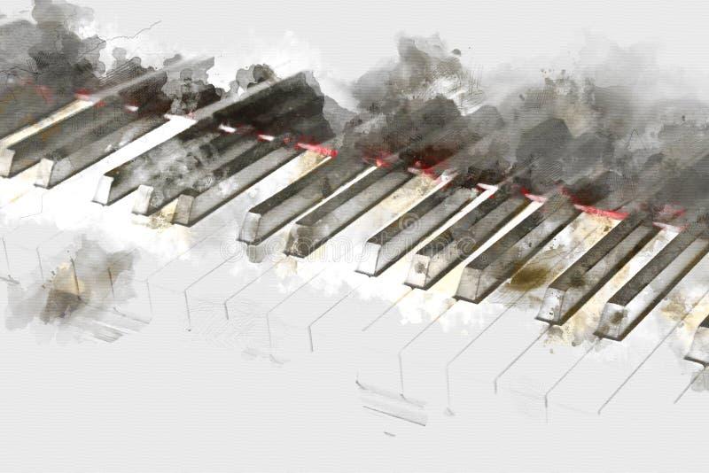 Clavier de la peinture d'aquarelle de premier plan de piano photographie stock libre de droits