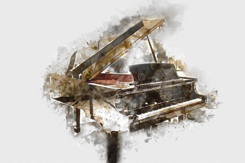 Clavier de la peinture d'aquarelle de premier plan de piano images libres de droits