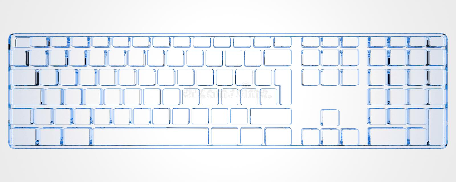 Clavier de PC (bleu de rayon X 3D) illustration stock