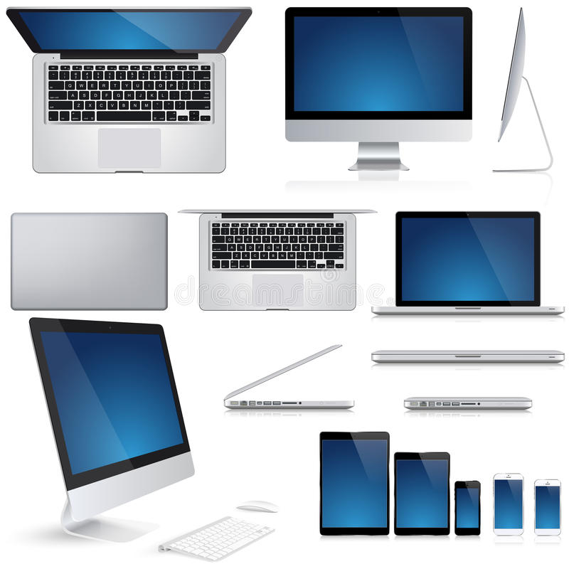 Clavier de souris de PC, ordinateur portable, carnet, smartphone illustration stock