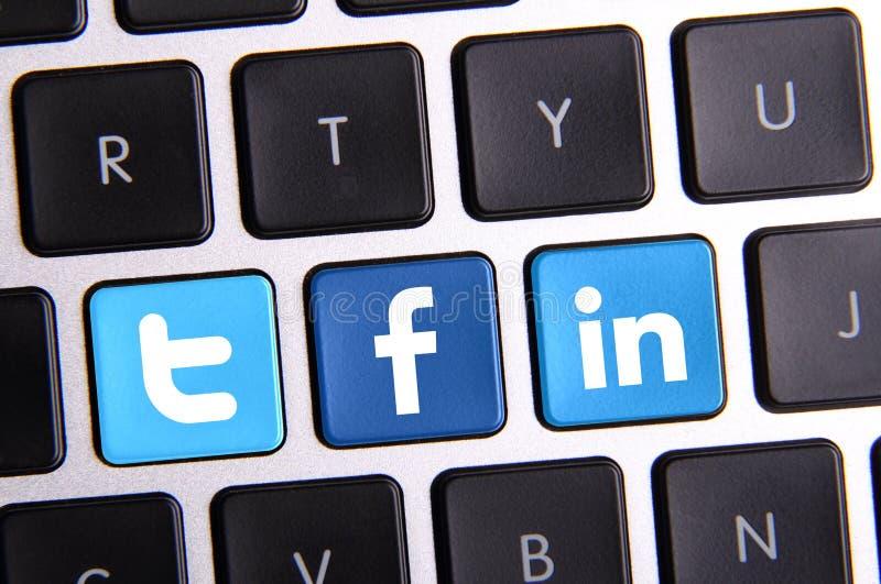 Clavier de Twitter et de Linkedin de Facebook images stock