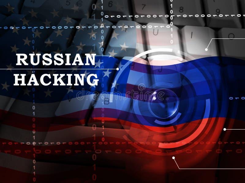 Clavier entaillant l'illustration 3d en ligne de pirates informatiques russes illustration libre de droits