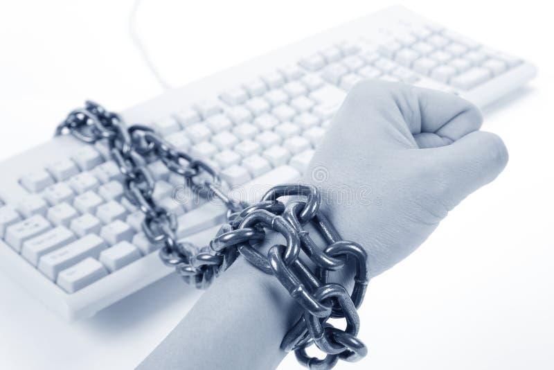 Clavier et main d'ordinateur photo libre de droits