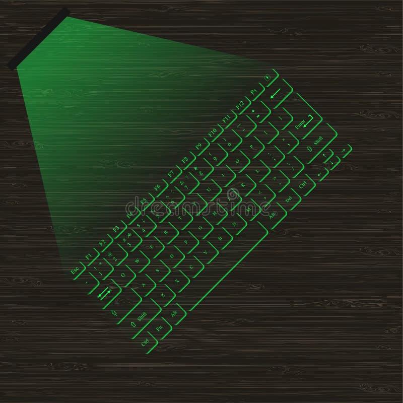 Download Clavier Virtuel Vert De Laser D'image Avec La Projection Sur Une Surface En Bois Illustration de Vecteur - Illustration du interface, créateur: 77158014