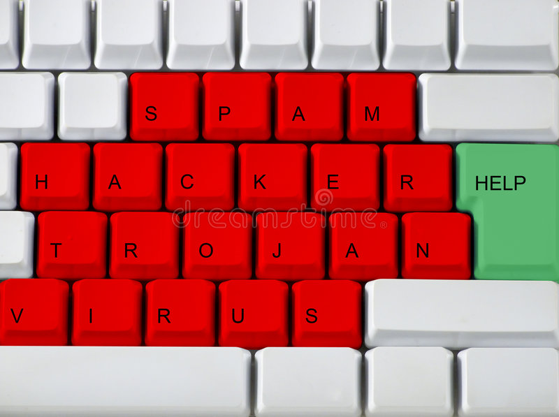 Clavier - virus principal rouge, troj images stock