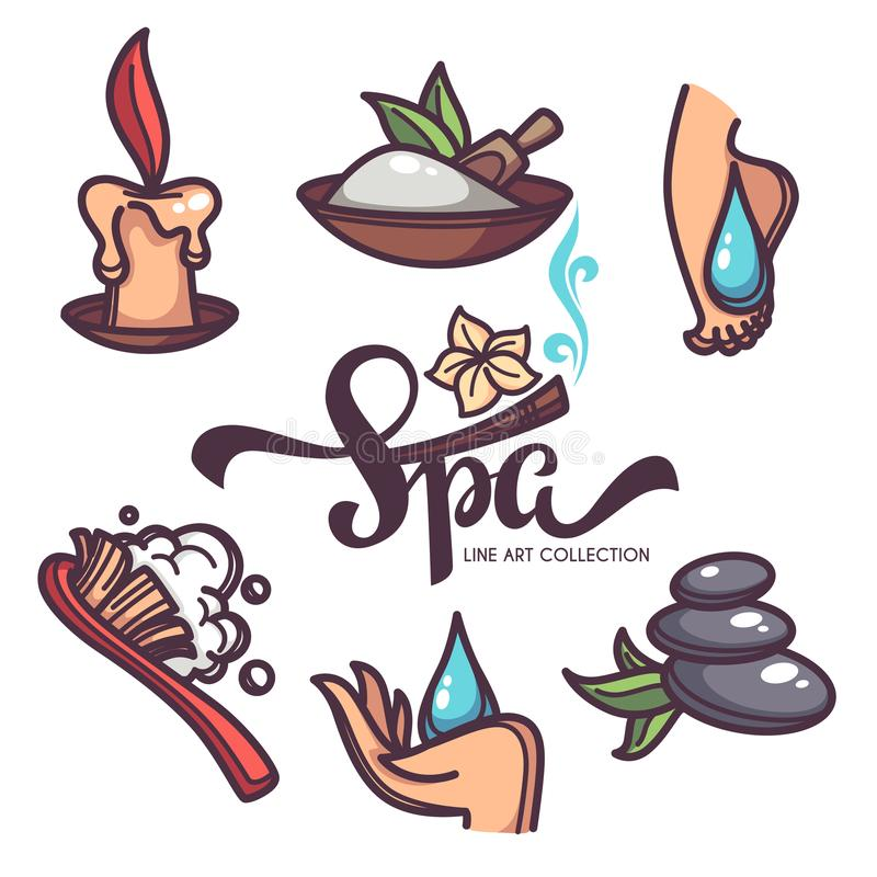 Clavo, pie, balneario y cuidado de la mano, objetos del vector y collecti de los iconos libre illustration