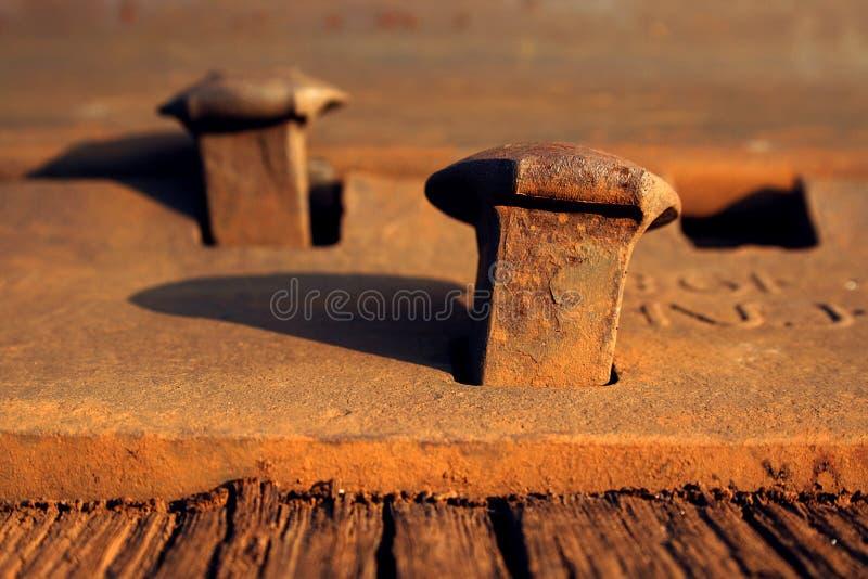 Clavos oxidados en una pista de ferrocarril fotografía de archivo libre de regalías