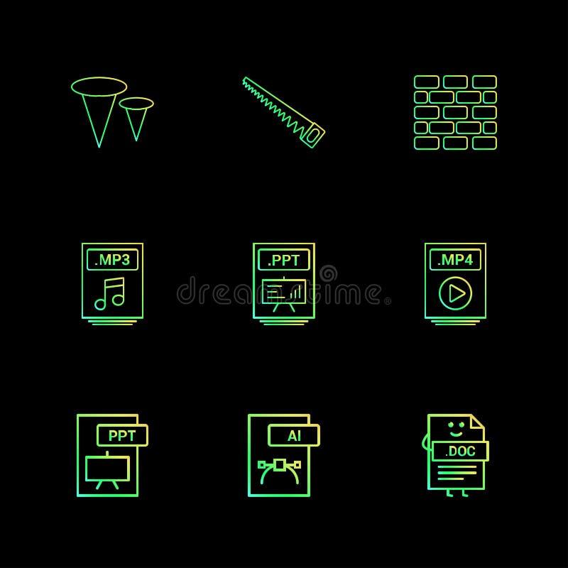 Clavos, sierra, pared de ladrillos, mp3, fichero audio, ppt, punto de poder libre illustration