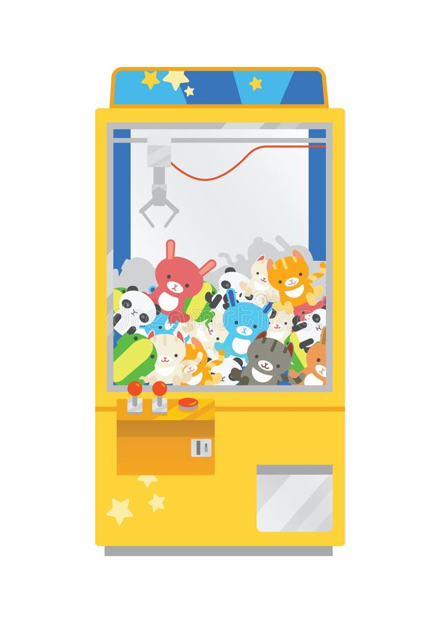 Claw crane machine or teddy picker isolated on white background. Arcade game with plush toys inside, gaming device for. Kid`s entertainment. Colorful vector royalty free illustration