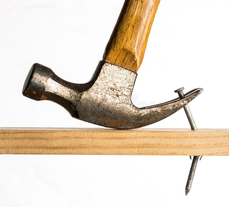 A claw hammer removing a nail royalty free stock images