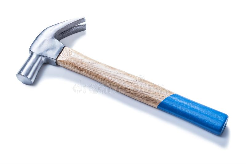 Claw hammer very close up isolated on wite royalty free stock photos