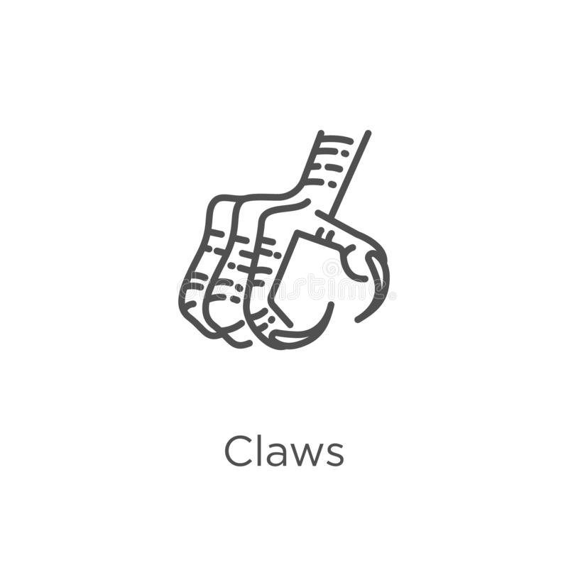 claws icon vector from owl collection. Thin line claws outline icon vector illustration. Outline, thin line claws icon for website stock illustration