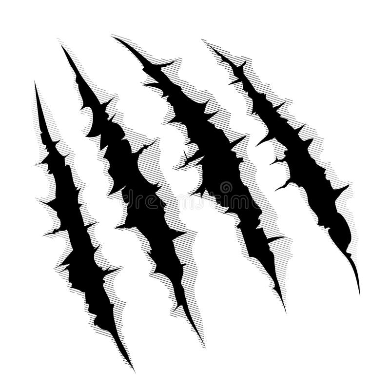 Claws scratches on white background. An illustration of a monster claw or hand scratch or rip through white background stock illustration