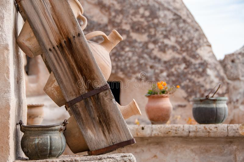Clay ancient pots royalty free stock photography