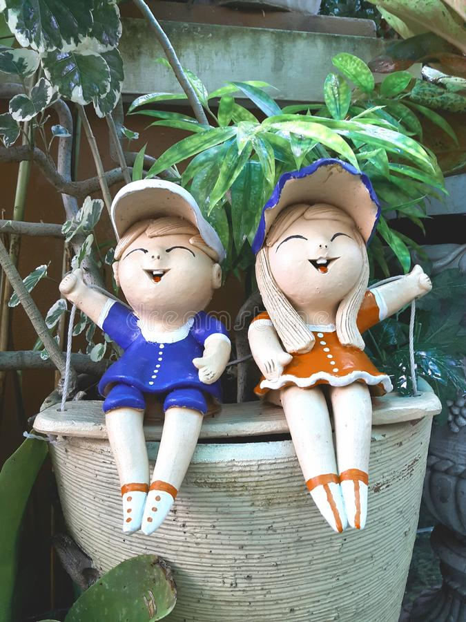 Clay Boy and Girl stock photos