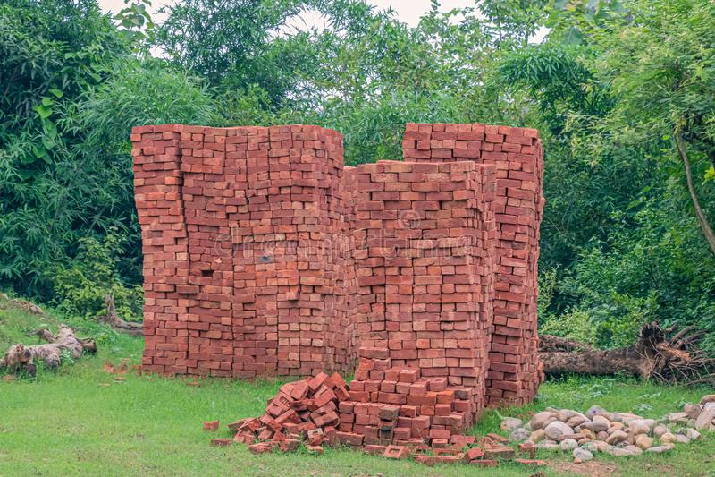 Clay Bricks rouge indien image stock