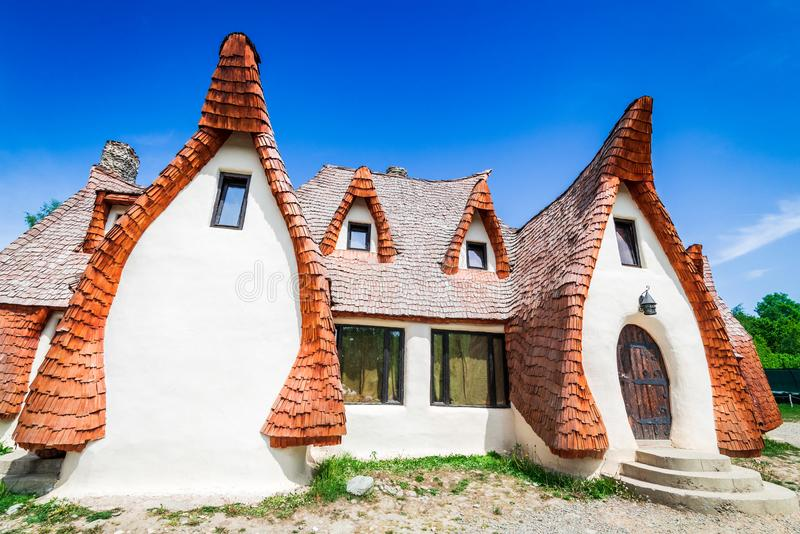 Clay Castle, Transylvania, Romania. The Valley of the Fairies Castelul de Lut, Valea Zanelor, Transylvanian Hobbit castle built of clay and sand in Romania stock photography