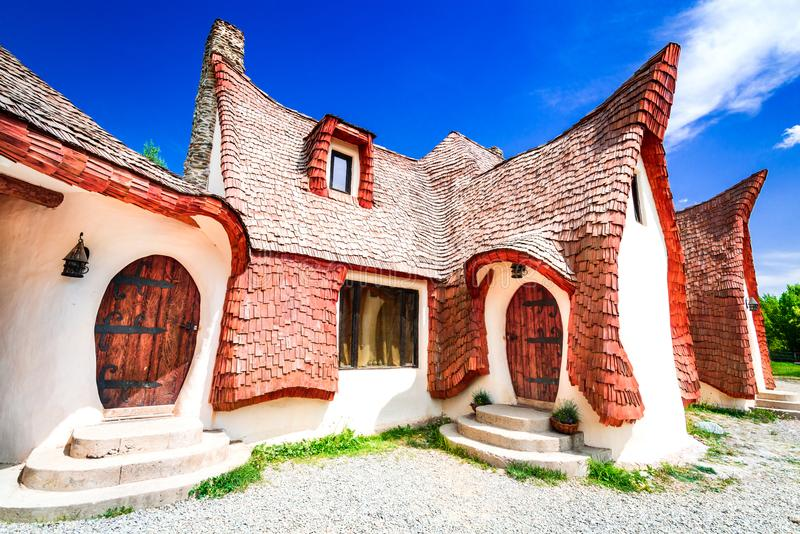 Clay Castle, Transylvania, Romania. The Valley of the Fairies Castelul de Lut, Valea Zanelor, Transylvanian Hobbit castle built of clay and sand in Romania stock image