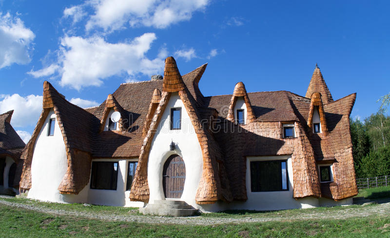 Clay Castle, The Valley of the Fairies. & x28;Castelul de Lut, Valea Zanelor& x29;, Transylvanian Hobbit hotel built out of clay and sand stock images