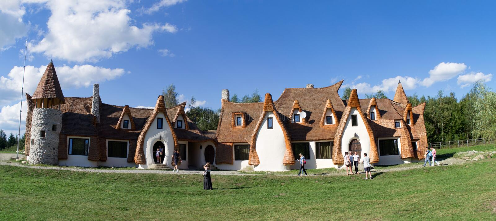 Clay Castle, The Valley of the Fairies. (Castelul de Lut, Valea Zanelor), Transylvanian Hobbit hotel built out of clay and sand stock photo