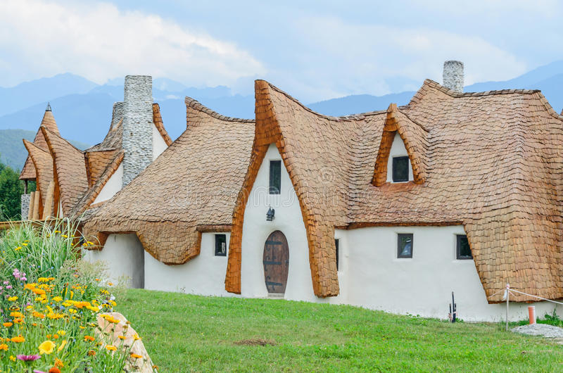 Clay Castle, The Valley of the Fairies. (Castelul de Lut, Valea Zanelor), Transylvanian Hobbit hotel built out of clay and sand. Grimm houses royalty free stock images