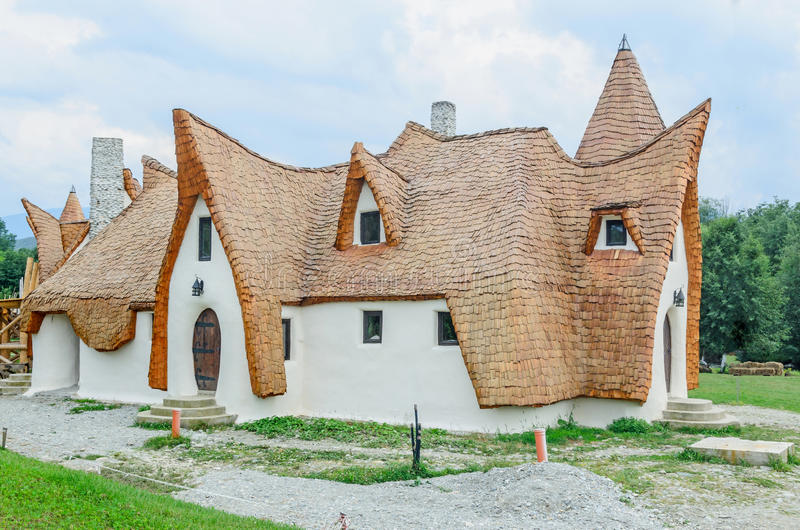 Clay Castle, The Valley of the Fairies. (Castelul de Lut, Valea Zanelor), Transylvanian Hobbit hotel built out of clay and sand. Grimm houses stock photography