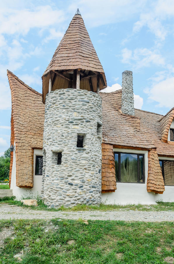Clay Castle, The Valley of the Fairies. (Castelul de Lut, Valea Zanelor), Transylvanian Hobbit hotel built out of clay and sand. Grimm houses stock image