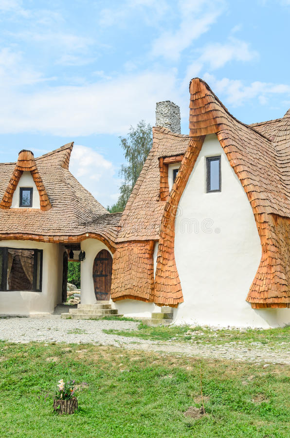 Clay Castle, The Valley of the Fairies. (Castelul de Lut, Valea Zanelor), Transylvanian Hobbit hotel built out of clay and sand. Grimm houses stock photos