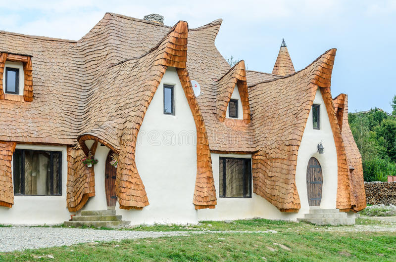 Clay Castle, The Valley of the Fairies. (Castelul de Lut, Valea Zanelor), Transylvanian Hobbit hotel built out of clay and sand. Grimm houses stock images